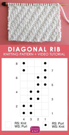 Knitting Chart Diagonal Rib Knit Stitch Pattern by Studio Knit with Free Pattern and Video Tutorial. This simple Diagonal Rib knit stitch pattern is achieved with just an easy repeat of knits and purls. Rib Stitch Knitting, Knitting Stiches, Knitting Charts, Baby Knitting Patterns, Loom Knitting, Knitting Designs, Free Knitting, Knitting Projects, Stitch Patterns