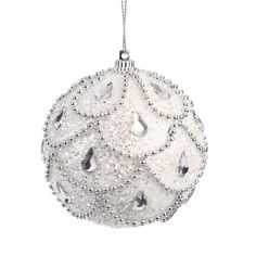 8cm Hanging Ball silver and white