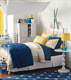 Yellow Bedroom Replace All The Blue Accents With Purple Ones And This Is Pretty Perfect For Bed