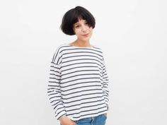 That striped shirt will go perfectly with your denim for the boyfriend look or with a tight pencil skirt for a cool, sexy yet casual evening look. The Breton stripy top is timeless casual clothing, well, the French girls know what they are doing:) Everyday T youll want to wear every day!  ♥ ⇨ ♥ ⇨ ♥ ⇨ ♥ ⇨ ♥ ⇨ ♥ ⇨ ♥ ⇨ ♥ ⇨ ♥ ⇨ ♥ ⇨ ♥ ⇨ ♥ ⇨ ♥ ⇨  ✂ 100% cotton tricot ♥ ⇨ ♥ ⇨ ♥ ⇨ ♥ ⇨ ♥ ⇨ ♥ ⇨  S- Bust: 108 cm / 43.2 inch Waist: 110 cm / 44 inch Length (center neck to hem): 50 cm / 20 i...