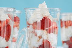 Devin Alexander's Strawberry Shortcake to Go made with angel food cake, strawberries and whipped topping.
