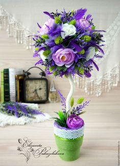 """Купить Топиарий, интерьерное дерево счастья с лавандой """"Лето в Провансе"""" - фиолетовый, топиарий, Дерево счастья"""