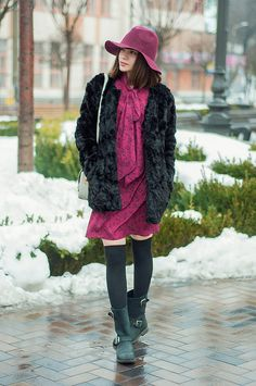 outfit // songbird   animal arithmetic http://www.animalarithmeticblog.com/2016/02/outfit-songbird.html  MANGO black faux fur coat // SheIn red vintage print bow neck dress // SheIn wine red casual fedora hat // ROMWE black over the knee socks // H&M grey mini cross body bag // POUSTOVIT for Braska black leather boots
