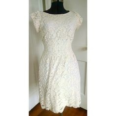 Lace Dress Pretty lace dress worn once for engagement photos color is off-white Pinky Dresses Midi