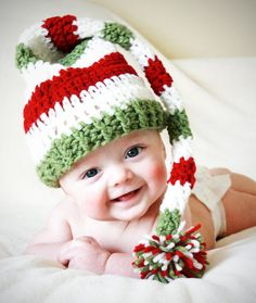 Christmas elf hat, Long Tail Elf Hat with Pom Pom - Newborn to Toddler - Green White Red Contemporary Christmas- Great Photo Prop - Made to Order Little People, Little Ones, Elf Hut, Knit Crochet, Crochet Hats, Foto Baby, Pom Pom Hat, Baby Pictures, Baby Hats