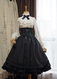Gothic Fashion 729090627160264993 - Surface Spell -Gothic Academy- Striped Lolita High Waist Skirt Source by Gothic Lolita Fashion, Gothic Outfits, Victorian Fashion, Gothic Lolita Dress, Emo Outfits, Victorian Gothic, Fashion Goth, Black Gothic Dress, Rock Fashion