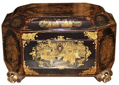 An Early 19th Century Chinese Black Lacquer Tea Caddy No. 4563 - C. Mariani Antiques, Restoration & Custom, San Francisco, CA.