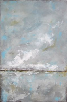 Original Abstract Landscape Painting Blue Skies 24 by lindadonohue