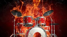 Flames Drums Fire Skeleton Dark
