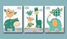 "Art for Kids Room Kids Wall Art Baby Boy Nursery Baby Boy Room Baby Nursery decor print set of 3 8"" x 10"" blue green giraffe owl decoration. $42.00, via Etsy."