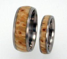 Titanium Wooden Wedding Bands, Black Ash Burl Wood Ring Set, Waterproof Bands, Ring Armor Included
