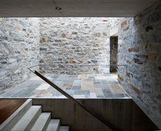 Stone House KÜ in Brione sopra Minusio, Ticino, Switzerland. Interior Architecture, Interior And Exterior, Interior Design, Atrium, Foyer, Villa, House Design, Stone, Textures