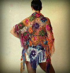Rainbow's Glare / Crochet Flowers Shawl Wrap Stole / Lace Neck Warmer / Warm…