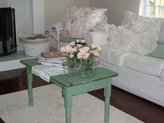 Green Shabby Chic table