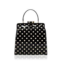 I'm in love: Lulu Guinness Black Polka-Dot Leather Medium Eva