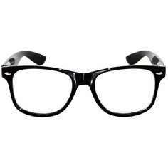 Amazon.com: Retro 80's Black Shiny Frame Nerd Wayfarer Clear Lens... ($1.49) ❤ liked on Polyvore featuring accessories, eyewear, eyeglasses, black glasses, 80s eyeglasses, retro eyeglasses, black eye glasses and black clear glasses