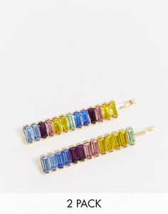 ASOS DESIGN hair slides with rainbow baguette stones in gold tone | ASOS Hair Slide, Faux Stone, Rectangle Shape, Baguette, Headpiece, Your Hair, Asos, Rainbow, Gold