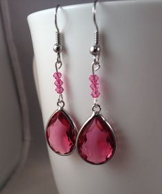 PINK swarovski crystals and glass drop earrings by IvyLouJewelry, $12.00