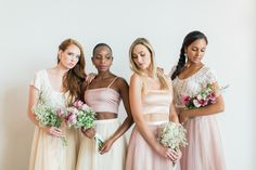 Bridesmaid Inspiration tip.  Mix and match your colours and styles.  Here we have used Caramel, Cream and our Blush Tulle skirts.  Play with the top ensembles to find the most complimentary style for your bridesmaid.  Shipping Worldwide. Visit us at www.lolawilde.co.za. Blush Tulle Skirt, Tulle Skirts, Bridesmaid Inspiration, New Romantics, Bridesmaid Dresses, Wedding Dresses, Mix N Match, Caramel, Feminine