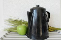 Vintage enamel kettle, black metal teapot, kitchen decor, black & white, pot with handle and lid, camping gear,
