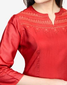 Tussar Cotton Embroidered Yoke Tunic