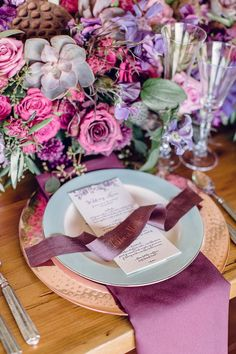 Purple place setting with ribbon place card. | Hey Gorgeous Events, a Snippet & Ink Select vendor!