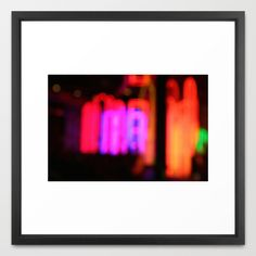 Neon City Lights. Framed Art Print