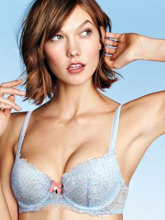 """Baby blue, pastel pink & lace. Calling our Body by Victoria Demi Bra """"pretty"""" is an understatement."""