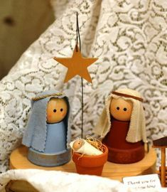 Small terracotta pots painted with wooden balls and your . Small terracotta pots painted with wooden balls and your choice of fabric. For the baby Jesus use a small clothes pin. Wooden Christmas Decorations, Christmas Wood, Kids Christmas, Christmas Ornaments, Christmas Crafts For Kids To Make, Holiday Crafts, Holiday Decor, Clay Pot Crafts, Nativity Crafts