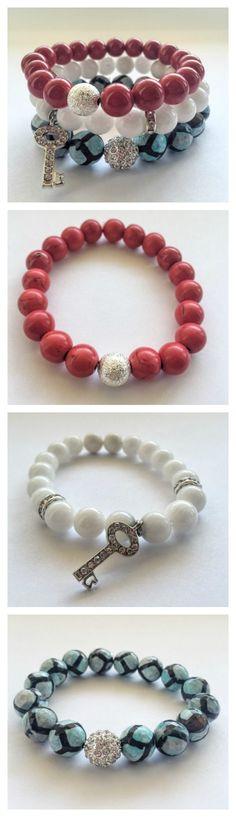 Stretchy Gemstone beaded bracelet by Ki² at www.kikijabrijewels.com