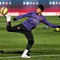 Neymar practicing some skills.