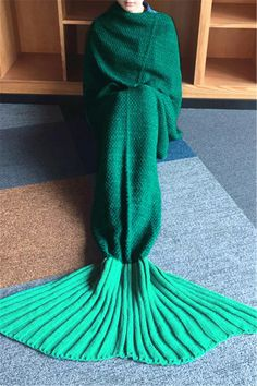 $21.11 Chic Quality Green Ombre Knitting Mermaid Shape Blanket