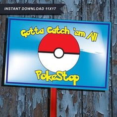Pokemon, pokestop, pokemon decoration, Pokestop sign, Pokémon Yard Sign, pokemon birthday, Pokémon go Birthday, Pokémon Party decor, Pikachu