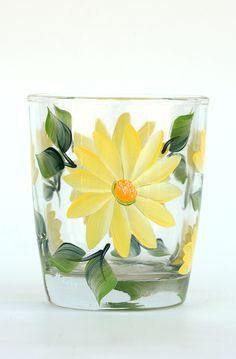 Yellow Daisies Rocks Glass