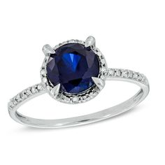7.0mm Lab-Created Blue Sapphire and Diamond Accent Frame Engagement Ring in 10K White Gold