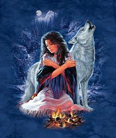 Indian Maiden And Wolf Native American Wolf, Native American Wisdom, Native American Pictures, Native American Artwork, Native American Beauty, Indian Pictures, Wolf Pictures, American Indian Art, Native American History