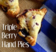 Triple Berry Hand Pies have a cream cheese crust and are filled with blueberries, blackberries and raspberries. Triple Berry Hand Pies are made for crust lovers and berry lovers! They are perfect for dessert and don't think you can just stop at one!