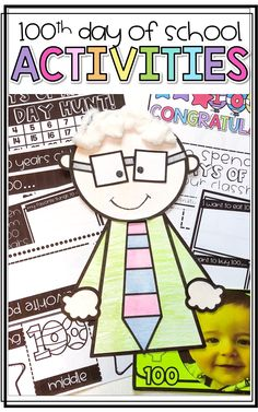 Use these day math freebies on your day of school. These day math activities are perfect for first, second, and third grade classes. 100 Days Of School Centers, 100th Day Of School Crafts, 100 Day Of School Project, School Projects, Project 22, Kindergarten Writing, Kindergarten Activities, Writing Activities, Fun Activities