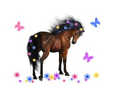 WILD HORSE MURAL Wall Art Stickers Decal Girls Pony Bedroom Decor Flowing Floral Mane Kids Room Childrens Barnyard Farm Animals Decorations #decampstudios
