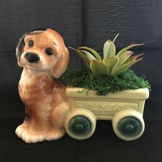 Vintage puppy and wagon Planter