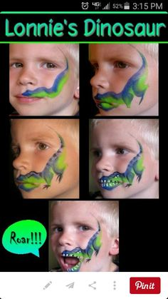 Painting of the face of the dinosaur. Maybe find s. Painting of the face of the dinosaur. Maybe find several options for children to choose from? Dinosaur Face Painting, Face Painting For Boys, Body Painting, How To Face Paint, Simple Face Painting, Face Painting Tutorials, Face Painting Designs, Paint Designs, Maquillage Halloween