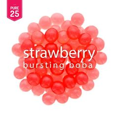 Popping with fresh flavor, Strawberry Bursting Boba® sears the real juice of hand-picked summer strawberries in each boba ball. Add its fun and freshness to frozen yogurt, ice cream sundae, ice Boba Tea Recipe, Bubble Tea Flavors, Ice Bubble, Boba Pearls, Strawberry Juice, Fruit Tea, Lamb Recipes, Spice Mixes, Frozen Desserts