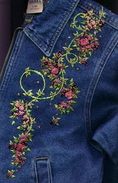 25 New Ideas For Embroidery Denim Jacket Design Denim Jacket Embroidery, Embroidered Denim Jacket, Embroidered Clothes, Silk Ribbon Embroidery, Hand Embroidery Designs, Cross Stitch Embroidery, Diy Embroidery, Machine Embroidery, Textiles