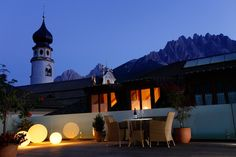 Rooftop terrace of Hotel Orso Grigo in San Candido / Innichen, one of the oldest hotels in South Tyrol. http://www.schlosshotels.co.at/en/grauer-baer