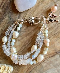 Pearl, moonstone, crystal quartz and mother of pearl bracelet