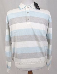 Ermenegildo Zegna Sport Sweater XL New Cashmere Cotton Polo Striped Dual Collar #ErmenegildoZegna #Polo