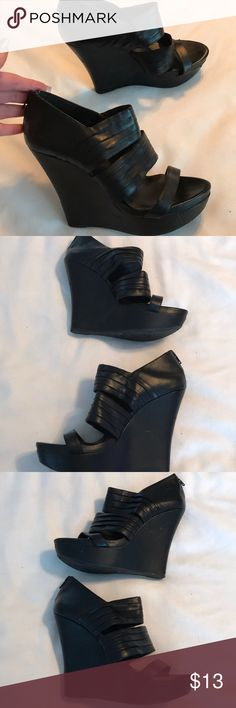 BCBG generation black wedge heels Worn a few times. Have some markings from being stored. They do not have a box. Please check out my other items bundle and save. BCBGeneration Shoes Heels