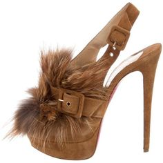 Pre-owned Christian Louboutin Splash Fur Pumps (3314745 PYG) ❤ liked on Polyvore featuring shoes, pumps, brown, fur pumps, brown peep toe pumps, fur shoes, peep-toe pumps and platform shoes