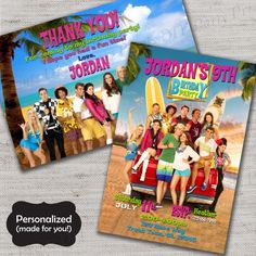 Teen Beach Movie Birthday invite,Teen Beach Movie,Beach Party invite,JPG file,Invite,Thank You Card,TBM invite, Beach Party DPP145