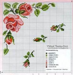 ESPAÇO DA CRIS: Grafico Ponto Cruz - Flores e Rosas